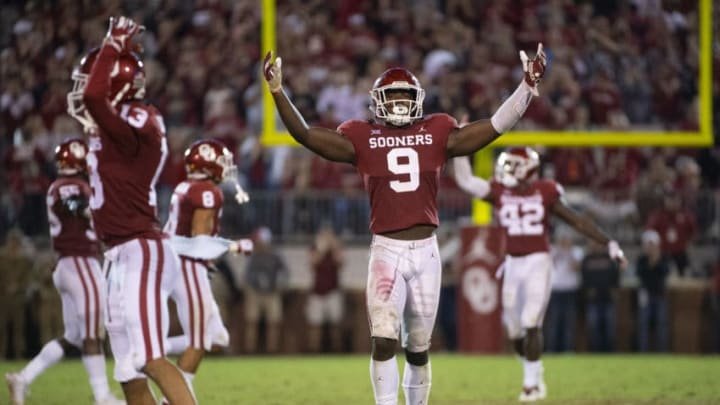 NORMAN, OK - SEPTEMBER 22: Kenneth Murray #9 of the Oklahoma Sooners celebrates after defeating the Army West Point Black Knights at Gaylord Family-Oklahoma Memorial Stadium on September 22, 2018 in Norman, Oklahoma. (Photo by Jamie Schwaberow/Getty Images)