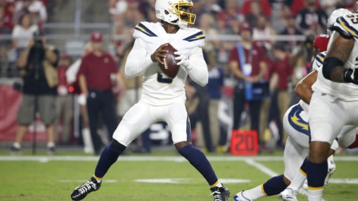 GLENDALE, ARIZONA - AUGUST 08: Quarterback Tyrod Taylor #5 of the Los Angeles Chargers looks to pass against the Arizona Cardinals during the first half of the NFL pre-season game at State Farm Stadium on August 08, 2019 in Glendale, Arizona. (Photo by Ralph Freso/Getty Images)