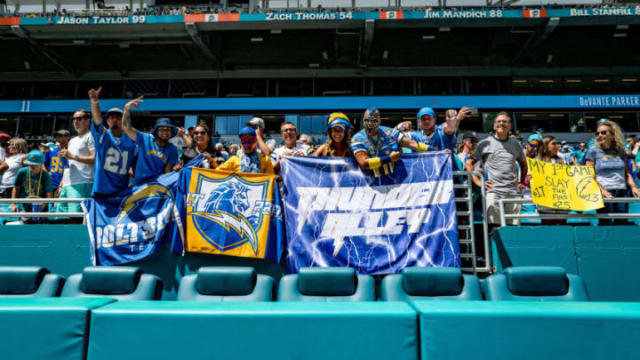 MIAMI, FLORIDA - SEPTEMBER 29: Los Angeles Chargers fans attend the game against the Miami Dolphins at Hard Rock Stadium on September 29, 2019 in Miami, Florida. (Photo by Mark Brown/Getty Images)