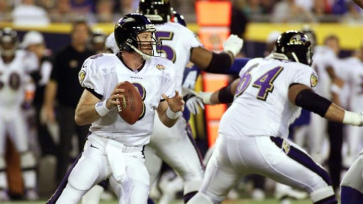 Baltimore Ravens' quarterback Trent Dilfer prepares to throw a pass during first half action of Super Bowl XXXV 28 January, 2001, at Raymond James Stadium in Tampa, Florida. The New York Giants and the Baltimore Ravens are playing for the NFL championship. AFP PHOTO/Timothy A. CLARY (Photo by Timothy A. CLARY / AFP) (Photo by TIMOTHY A. CLARY/AFP via Getty Images)