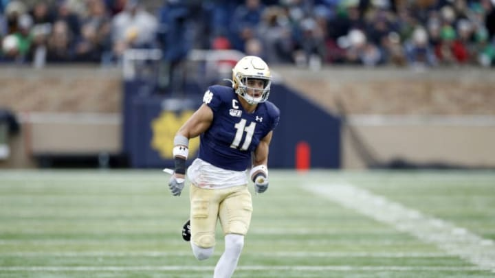SOUTH BEND, IN - NOVEMBER 23: Alohi Gilman #11 of the Notre Dame Fighting Irish in action on defense during a game against the Boston College Eagles at Notre Dame Stadium on November 23, 2019 in South Bend, Indiana. Notre Dame defeated Boston College 40-7. (Photo by Joe Robbins/Getty Images)