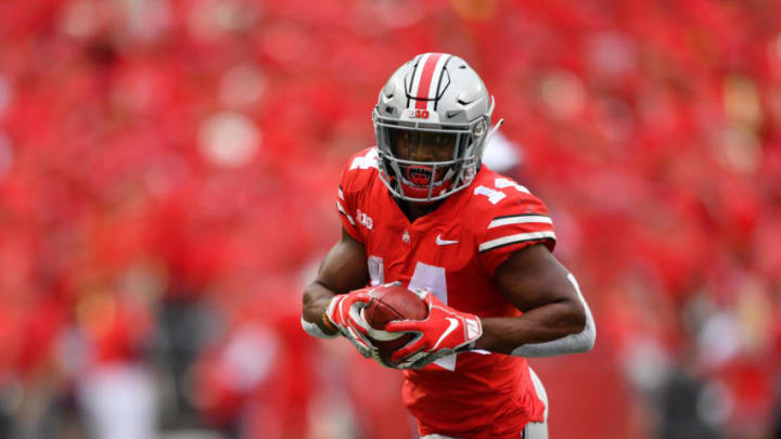 COLUMBUS, OH - SEPTEMBER 22: K.J. Hill #14 of the Ohio State Buckeyes runs with the ball against the Tulane Green Wave at Ohio Stadium on September 22, 2018 in Columbus, Ohio. (Photo by Jamie Sabau/Getty Images)