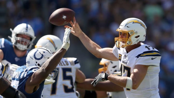 CARSON, CALIFORNIA - SEPTEMBER 08: Al-Quadin Muhammad #97 of the Indianapolis Colts pressures Philip Rivers #17 of the Los Angeles Chargers on a pass play during the second half of a game at Dignity Health Sports Park on September 08, 2019 in Carson, California. (Photo by Sean M. Haffey/Getty Images)