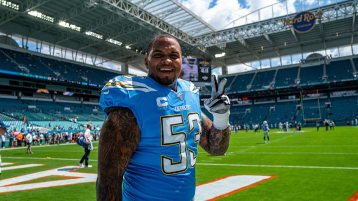 MIAMI, FLORIDA - SEPTEMBER 29: Mike Pouncey #53 of the Los Angeles Chargers during warms ups before the game against the Miami Dolphins at Hard Rock Stadium on September 29, 2019 in Miami, Florida. (Photo by Mark Brown/Getty Images)