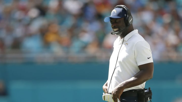 MIAMI, FLORIDA - SEPTEMBER 29: Head coach Anthony Lynn of the Los Angeles Chargers reacts against the Miami Dolphins during the fourth quarter at Hard Rock Stadium on September 29, 2019 in Miami, Florida. (Photo by Michael Reaves/Getty Images)