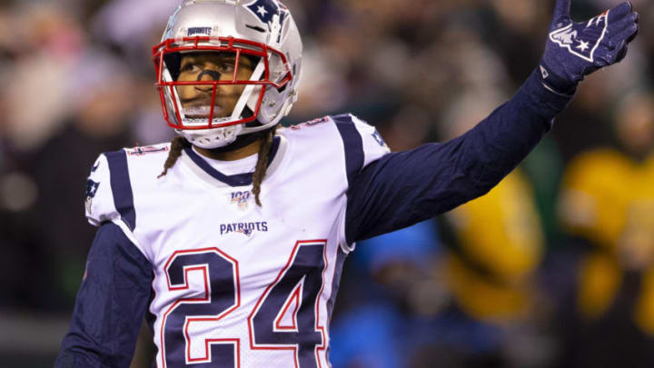 PHILADELPHIA, PA - NOVEMBER 17: Stephon Gilmore #24 of the New England Patriots reacts against the Philadelphia Eagles at Lincoln Financial Field on November 17, 2019 in Philadelphia, Pennsylvania. (Photo by Mitchell Leff/Getty Images)