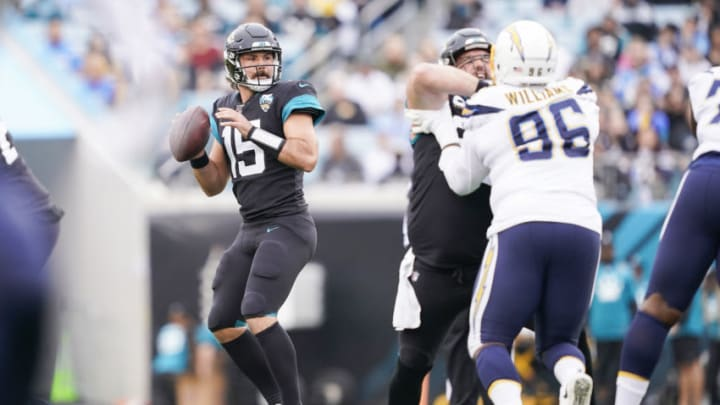 JACKSONVILLE, FLORIDA - DECEMBER 08: Gardner Minshew #15 of the Jacksonville Jaguars looks on during the first quarter of a game against the Los Angeles Chargers at TIAA Bank Field on December 08, 2019 in Jacksonville, Florida. (Photo by James Gilbert/Getty Images)
