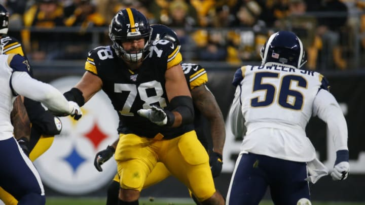 PITTSBURGH, PA - NOVEMBER 10: Alejandro Villanueva #78 of the Pittsburgh Steelers in action against the Los Angeles Rams on November 10, 2019 at Heinz Field in Pittsburgh, Pennsylvania. (Photo by Justin K. Aller/Getty Images)