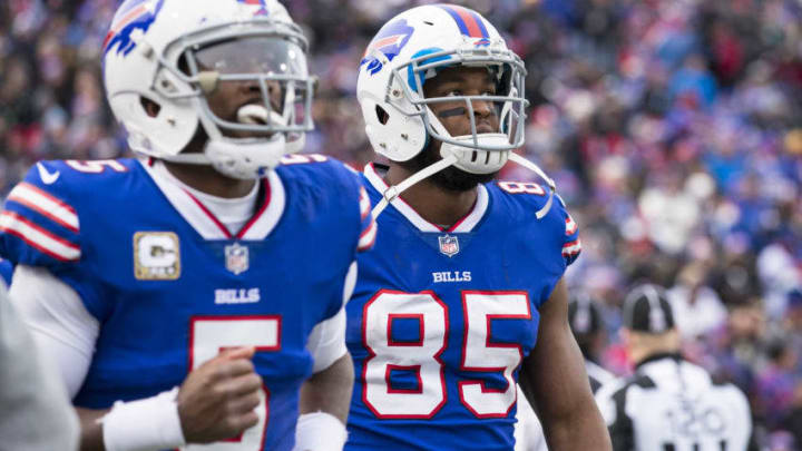 ORCHARD PARK, NY - NOVEMBER 12: Tyrod Taylor #5 and Charles Clay #85 of the Buffalo Bills look towards the scoreboard after a New Orleans Saints caught an interception between the pair during the third quarter at New Era Field on November 12, 2017 in Orchard Park, New York. New Orleans defeats Buffalo 47-10. (Photo by Brett Carlsen/Getty Images)