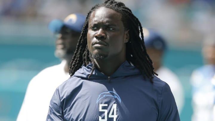 MIAMI, FLORIDA - SEPTEMBER 29: Melvin Ingram #54 of the Los Angeles Chargers looks on against the Miami Dolphins during the third quarter at Hard Rock Stadium on September 29, 2019 in Miami, Florida. (Photo by Michael Reaves/Getty Images)