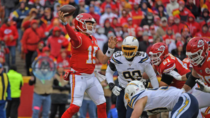 KANSAS CITY, MO - DECEMBER 29: Quarterback Patrick Mahomes #15 of the Kansas City Chiefs throws a pass up field against the Los Angeles Chargers during the first half at Arrowhead Stadium on December 29, 2019 in Kansas City, Missouri. (Photo by Peter Aiken/Getty Images)