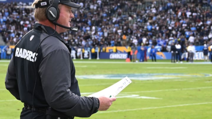 CARSON, CA - DECEMBER 22: Head coach Jon Gruden of the Oakland Raiders looks on from the sidelines in the second half of the game against the Los Angeles Chargersat Dignity Health Sports Park on December 22, 2019 in Carson, California. (Photo by Jayne Kamin-Oncea/Getty Images)