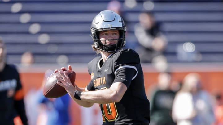 MOBILE, AL - JANUARY 25: Quarterback Justin Herbert #10 from Oregon of the South Team warms up before the start of the 2020 Resse's Senior Bowl at Ladd-Peebles Stadium on January 25, 2020 in Mobile, Alabama. The Noth Team defeated the South Team 34 to 17. (Photo by Don Juan Moore/Getty Images)