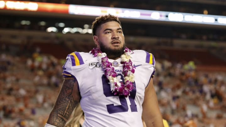 AUSTIN, TX - SEPTEMBER 07: Breiden Fehoko #91 of the LSU Tigers walks off the field after the game against the Texas Longhorns at Darrell K Royal-Texas Memorial Stadium on September 7, 2019 in Austin, Texas. (Photo by Tim Warner/Getty Images)