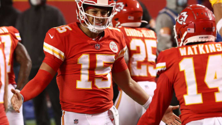 KANSAS CITY, MISSOURI - SEPTEMBER 10: Patrick Mahomes #15 celebrates a touchdown with teammate Sammy Watkins #14 of the Kansas City Chiefs during the second quarter against the Houston Texans at Arrowhead Stadium on September 10, 2020 in Kansas City, Missouri. (Photo by Jamie Squire/Getty Images)