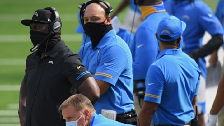 INGLEWOOD, CALIFORNIA - SEPTEMBER 20: Head coach Anthony Lynn of the Los Angeles Chargers looks on against the Kansas City Chiefs during the second quarter at SoFi Stadium on September 20, 2020 in Inglewood, California. (Photo by Harry How/Getty Images)