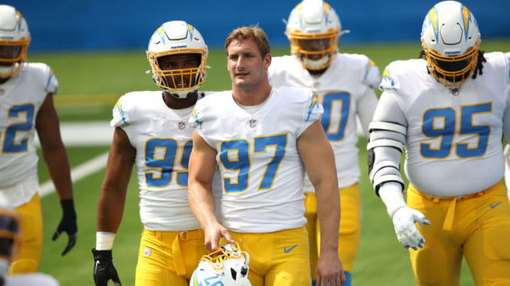 INGLEWOOD, CALIFORNIA - SEPTEMBER 27: Joey Bosa #97 of the Los Angeles Chargers looks on prior to a game against the Carolina Panthers at SoFi Stadium on September 27, 2020 in Inglewood, California. (Photo by Sean M. Haffey/Getty Images)