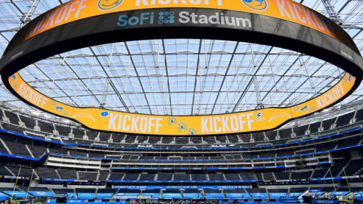 INGLEWOOD, CALIFORNIA - SEPTEMBER 27: Opening kickoff between the Carolina Panthers and the Los Angeles Chargers at SoFi Stadium on September 27, 2020 in Inglewood, California. (Photo by Harry How/Getty Images)