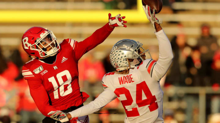 PISCATAWAY, NEW JERSEY - NOVEMBER 16: Shaun Wade #24 of the Ohio State Buckeyes intercepts a pass intended for Bo Melton #18 of the Rutgers Scarlet Knights in the first quarter at SHI Stadium on November 16, 2019 in Piscataway, New Jersey. (Photo by Elsa/Getty Images)