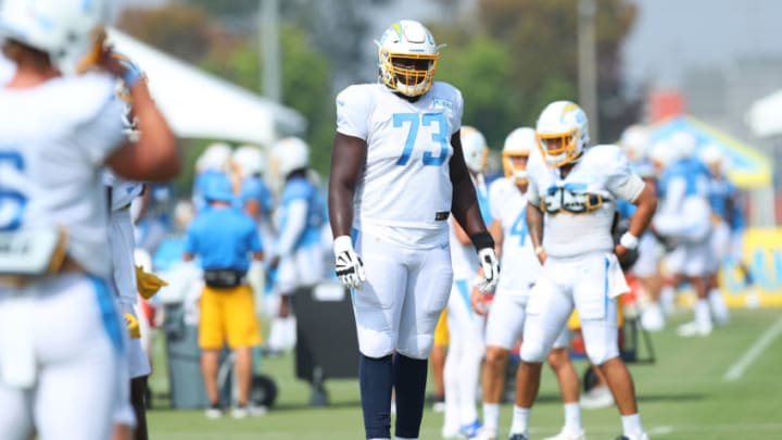 COSTA MESA, CALIFORNIA - AUGUST 24: Tyree St. Louis #73 of the Los Angeles Chargers warms up during Los Angeles Chargers Training Camp at the Jack Hammett Sports Complex on August 24, 2020 in Costa Mesa, California. (Photo by Joe Scarnici/Getty Images)