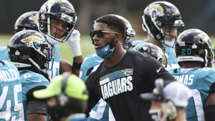 JACKSONVILLE, FLORIDA - OCTOBER 18: Josh Allen #41 of the Jacksonville Jaguars looks on from the sidelines during a game against the Detroit Lions at TIAA Bank Field on October 18, 2020 in Jacksonville, Florida. (Photo by James Gilbert/Getty Images)