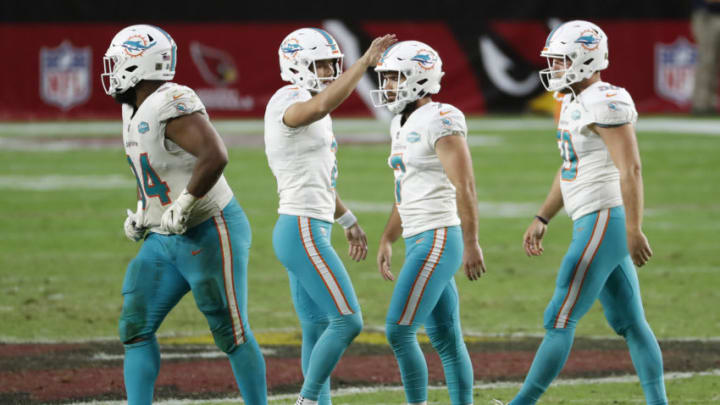 GLENDALE, ARIZONA - NOVEMBER 08: Matt Haack #2 celebrates with Jason Sanders #7 of the Miami Dolphins during the second half against the Arizona Cardinals at State Farm Stadium on November 08, 2020 in Glendale, Arizona. The Miami Dolphins won 34-31. (Photo by Chris Coduto/Getty Images)