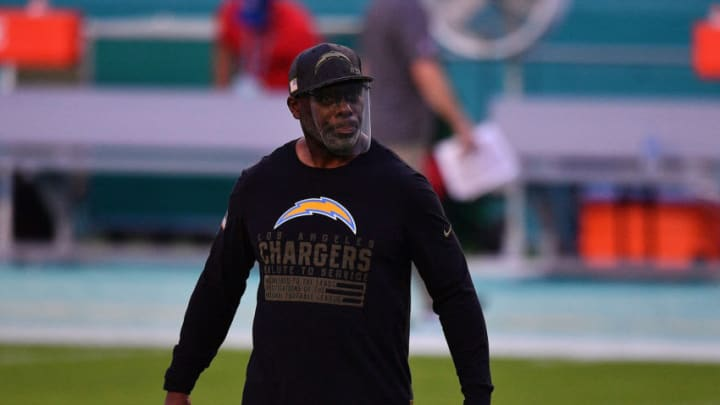 MIAMI GARDENS, FLORIDA - NOVEMBER 15: Head coach Anthony Lynn of the Los Angeles Chargers looks on during warmups prior to the game against the Miami Dolphins at Hard Rock Stadium on November 15, 2020 in Miami Gardens, Florida. (Photo by Mark Brown/Getty Images)