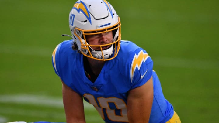 MIAMI GARDENS, FLORIDA - NOVEMBER 15: Justin Herbert #10 of the Los Angeles Chargers in action against the Miami Dolphins at Hard Rock Stadium on November 15, 2020 in Miami Gardens, Florida. (Photo by Mark Brown/Getty Images)