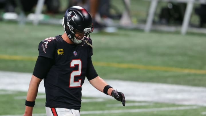 ATLANTA, GEORGIA - DECEMBER 06: Matt Ryan #2 of the Atlanta Falcons leaves the field following a 21-16 loss to the New Orleans Saints at Mercedes-Benz Stadium on December 06, 2020 in Atlanta, Georgia. (Photo by Kevin C. Cox/Getty Images)