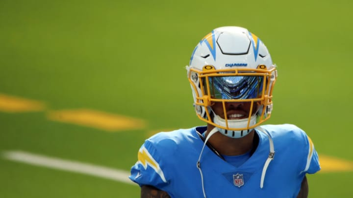 INGLEWOOD, CALIFORNIA - DECEMBER 06: Nasir Adderley #24 of the Los Angeles Chargers looks on during warms up before the game against the New England Patriots at SoFi Stadium on December 06, 2020 in Inglewood, California. (Photo by Katelyn Mulcahy/Getty Images)