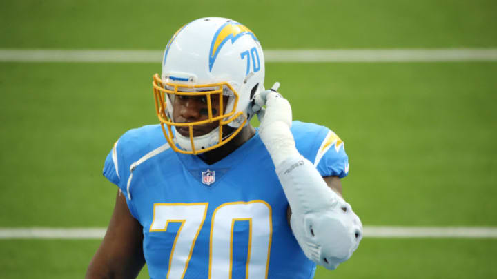 INGLEWOOD, CALIFORNIA - DECEMBER 06: Trai Turner #70 of the Los Angeles Chargers warms up before the game against the New England Patriots at SoFi Stadium on December 06, 2020 in Inglewood, California. (Photo by Katelyn Mulcahy/Getty Images)