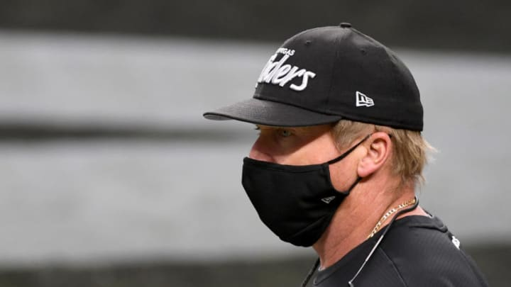 LAS VEGAS, NEVADA - DECEMBER 13: Head coach Jon Gruden of the Las Vegas Raiders takes the field for a game against the Indianapolis Colts at Allegiant Stadium on December 13, 2020 in Las Vegas, Nevada. The Colts defeated the Raiders 44-27. (Photo by Ethan Miller/Getty Images)