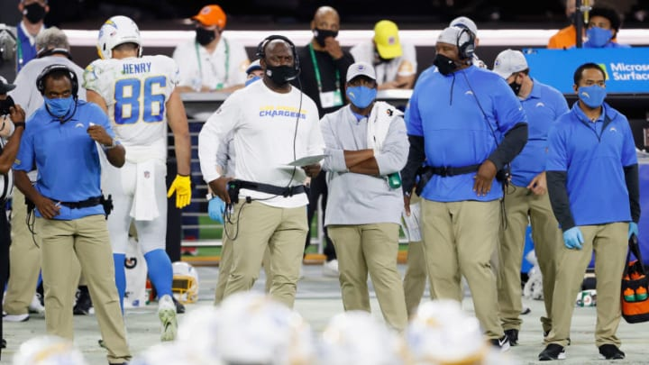 LAS VEGAS, NEVADA - DECEMBER 17: Head coach Anthony Lynn of the Los Angeles Chargers watches from the sidelines during the NFL game against the Las Vegas Raiders at Allegiant Stadium on December 17, 2020 in Las Vegas, Nevada. The Chargers defeated the Raiders in overtime 30-27. (Photo by Christian Petersen/Getty Images)