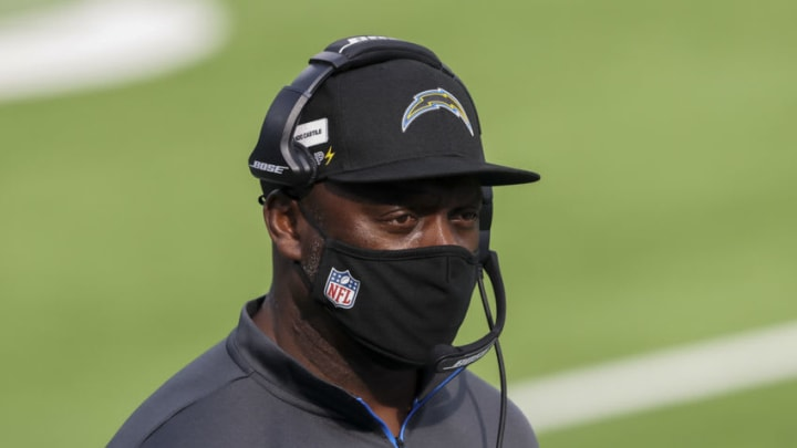 INGLEWOOD, CALIFORNIA - DECEMBER 27: Head coach Anthony Lynn of the Los Angeles Chargers looks on before his team plays against the Denver Broncos at SoFi Stadium on December 27, 2020 in Inglewood, California. (Photo by Sean M. Haffey/Getty Images)