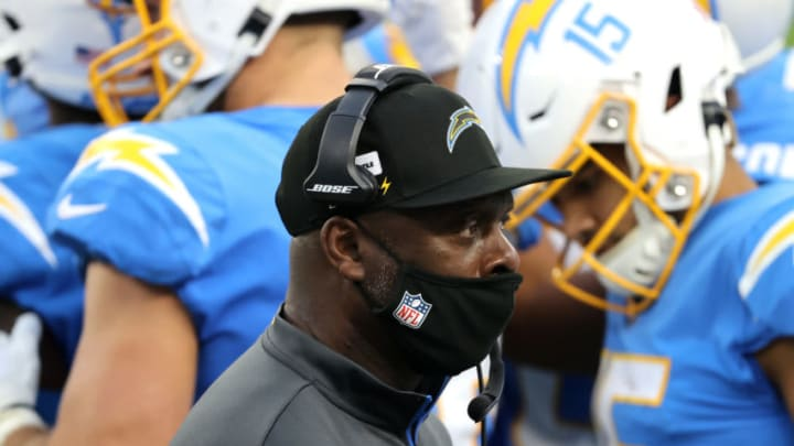INGLEWOOD, CALIFORNIA - DECEMBER 27: Head coach Anthony Lynn of the Los Angeles Chargers looks on from the sidelines during the first half of a game against the Denver Broncos at SoFi Stadium on December 27, 2020 in Inglewood, California. (Photo by Sean M. Haffey/Getty Images)