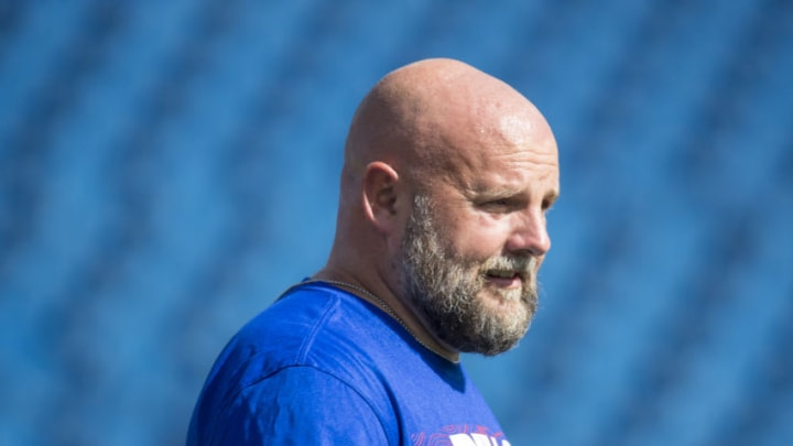 ORCHARD PARK, NY - SEPTEMBER 16: Buffalo Bills offensive coordinator Brian Daboll walks on the field before the game between the Buffalo Bills and the Los Angeles Chargers at New Era Field on September 16, 2018 in Orchard Park, New York. Los Angeles defeats Buffalo 31-20. (Photo by Brett Carlsen/Getty Images)