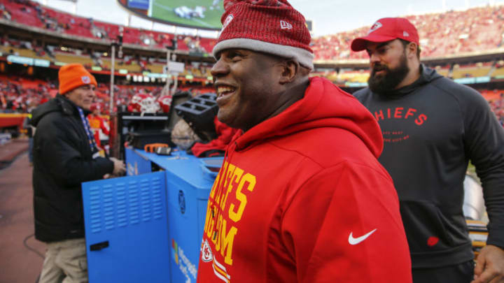 KANSAS CITY, MO - DECEMBER 09: Kansas City Chiefs offensive coordinator Eric Bieniemy smiles as he walks off the field in the Chiefs' 27-24 overtime win over the Baltimore Ravens at Arrowhead Stadium on December 9, 2018 in Kansas City, Missouri. (Photo by David Eulitt/Getty Images)