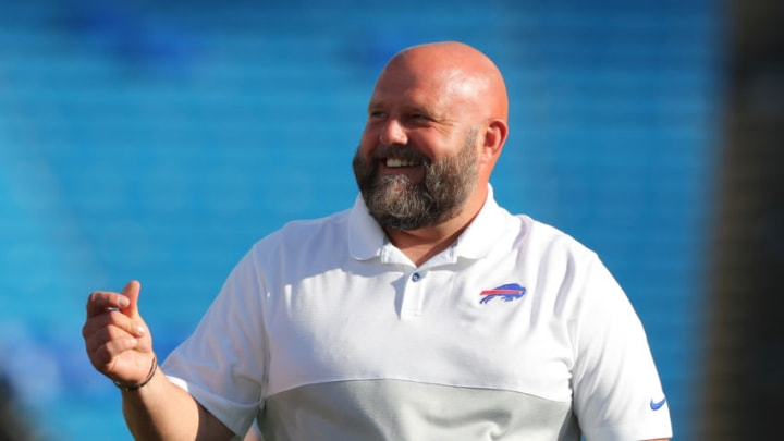 ORCHARD PARK, NY - AUGUST 29: Buffalo Bills offensive coordinator Brian Daboll on the field before a preseason game against the Minnesota Vikings at New Era Field on August 29, 2019 in Orchard Park, New York. Buffalo beats Minnesota 27 to 23. (Photo by Timothy T Ludwig/Getty Images)