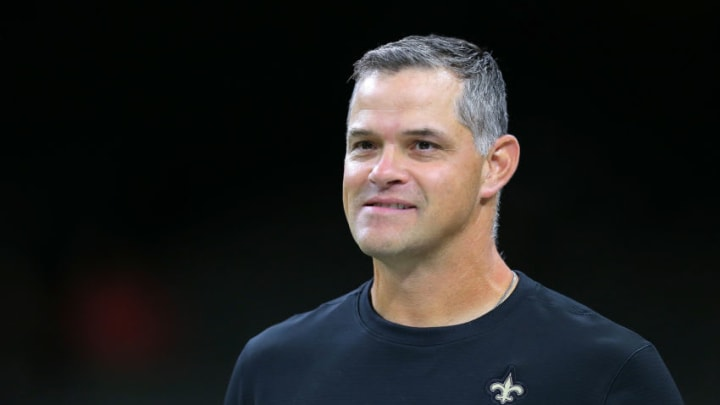 NEW ORLEANS, LOUISIANA - AUGUST 29: Quarterbacks coach Joe Lombardi of the New Orleans Saints during an NFL preseason game at the Mercedes Benz Superdome on August 29, 2019 in New Orleans, Louisiana. (Photo by Jonathan Bachman/Getty Images)