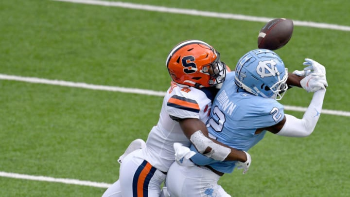 CHAPEL HILL, NORTH CAROLINA - SEPTEMBER 12: Ifeatu Melifonwu #2 of the Syracuse Orange breaks up a pass intended for Dyami Brown #2 of the North Carolina Tar Heels during the first quarter of their game at Kenan Stadium on September 12, 2020 in Chapel Hill, North Carolina. (Photo by Grant Halverson/Getty Images)