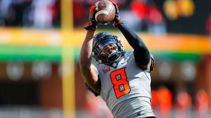STILLWATER, OK - OCTOBER 24: Cornerback Rodarius Williams #8 of the Oklahoma State Cowboys jumps to catch a pass before a game against the Iowa State Cylcones at Boone Pickens Stadium on October 24, 2020 in Stillwater, Oklahoma. OSU won 24-20. (Photo by Brian Bahr/Getty Images)