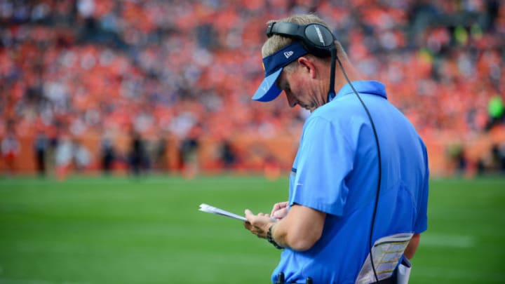 DENVER, CO - OCTOBER 30: Head coach Mike McCoy of the San Diego Chargers makes notes during the second quarter of a game against the Denver Broncos at Sports Authority Field at Mile High on October 30, 2016 in Denver, Colorado. (Photo by Dustin Bradford/Getty Images)