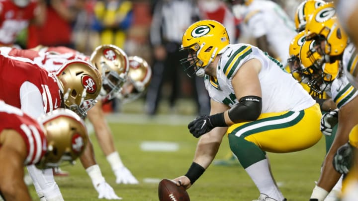 SANTA CLARA, CALIFORNIA - NOVEMBER 24: Center Corey Linsley #63 of the Green Bay Packers prepares to snap the ball in the first quarter against the San Francisco 49ers at Levi's Stadium on November 24, 2019 in Santa Clara, California. (Photo by Lachlan Cunningham/Getty Images)
