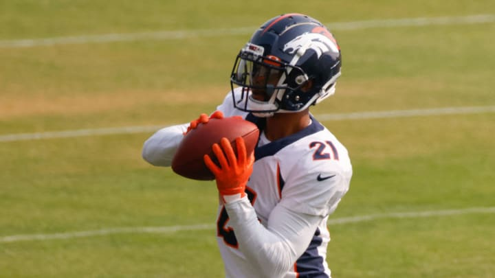 ENGLEWOOD, CO - AUGUST 21: Cornerback A.J. Bouye #21 of the Denver Broncos catches a pass on the field during a training session at UCHealth Training Center on August 21, 2020 in Englewood, Colorado. (Photo by Justin Edmonds/Getty Images)