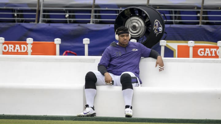 BALTIMORE, MD - OCTOBER 11: Orlando Brown #78 of the Baltimore Ravens looks on from the bench before the game against the Cincinnati Bengals at M&T Bank Stadium on October 11, 2020 in Baltimore, Maryland. (Photo by Scott Taetsch/Getty Images)