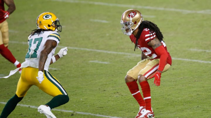 SANTA CLARA, CA - NOVEMBER 3: Jason Verrett #22 of the San Francisco 49ers defends during the game against the Green Bay Packers at Levi's Stadium on November 3, 2020 in Santa Clara, California. The Packers defeated the 49ers 34-17. (Photo by Michael Zagaris/San Francisco 49ers/Getty Images)
