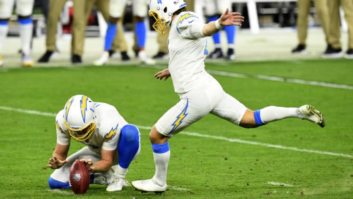 LAS VEGAS, NEVADA - DECEMBER 17: Mike Badgley #4 of the Los Angeles Chargers misses a field goal against the Las Vegas Raiders during fourth quarter in the game at Allegiant Stadium on December 17, 2020 in Las Vegas, Nevada. (Photo by Chris Unger/Getty Images)