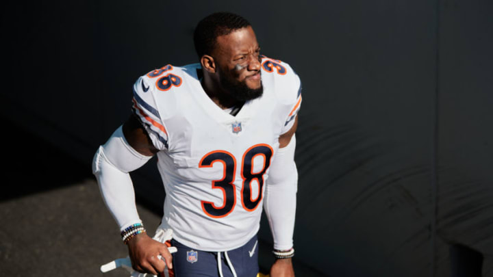 JACKSONVILLE, FLORIDA - DECEMBER 27: Tashaun Gipson Sr. #38 of the Chicago Bears enters the field for the second half of a game against the Jacksonville Jaguars at TIAA Bank Field on December 27, 2020 in Jacksonville, Florida. (Photo by James Gilbert/Getty Images)