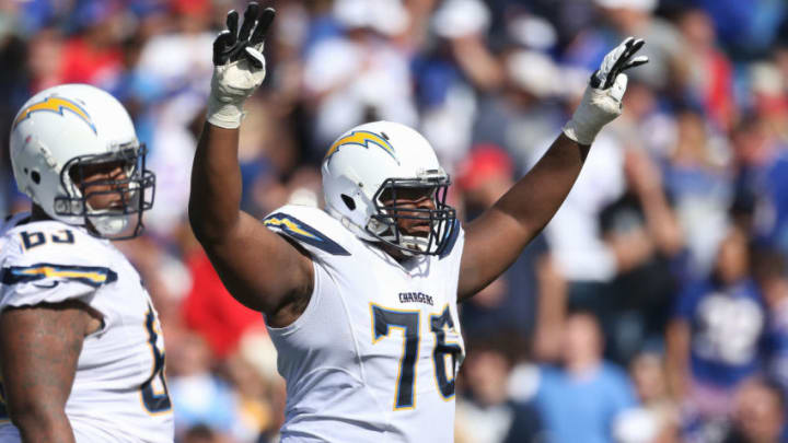 ORCHARD PARK, NY - SEPTEMBER 21: D.J. Fluker #76 of the San Diego Chargers during NFL game action against the Buffalo Bills at Ralph Wilson Stadium on September 21, 2014 in Orchard Park, New York. (Photo by Tom Szczerbowski/Getty Images)