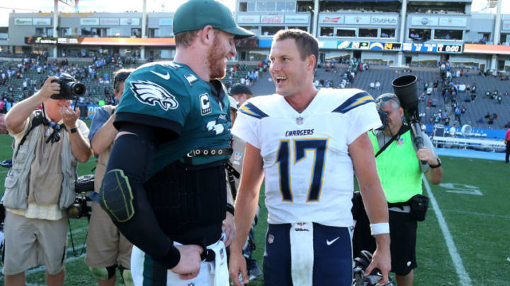 CARSON, CA - OCTOBER 01: Philip Rivers #17 of the Los Angeles Chargers and Carson Wentz #11 of the Philadelphia Eagles are seen after the NFL game at StubHub Center on October 1, 2017 in Carson, California. (Photo by Stephen Dunn/Getty Images)